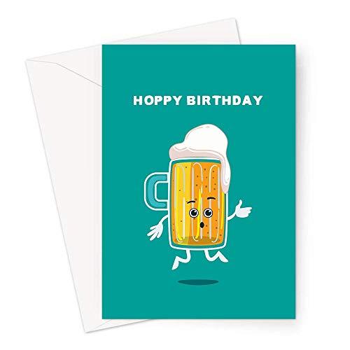 Hoppy Geburtstagskarte   Bier-Wortspiel Happy Birthday Karte, Happy Pint of Beer Jumping in The Air, Geburtstagskarte für Vater, Sohn, Bruder