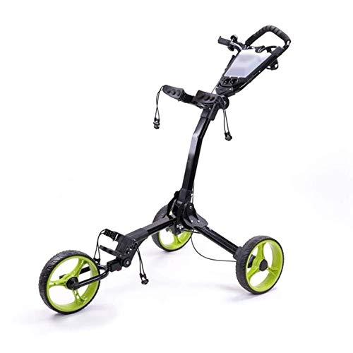 Buy Bargain BZLLW Golf Push Cart,3-Wheeled CartOne-Click Folding Pull/Push Golf Trolley,Foldable Bal...