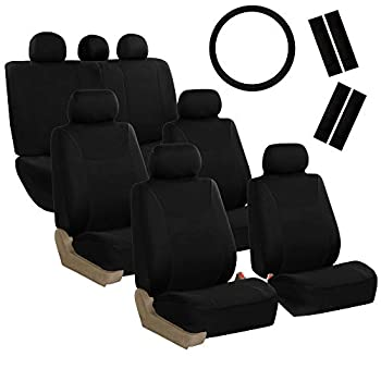 FH Group FH-FB030217-COMBO Light & Breezy Black Cloth Seat Cover Set Airbag & Split Ready- Fit Most Car Truck SUV or Van