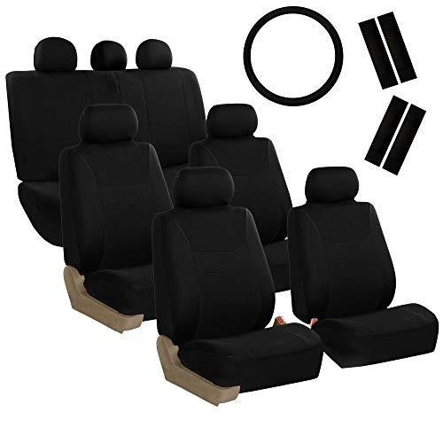 FH GROUP FH-FB030217-COMBO Light & Breezy Black Cloth Seat Cover Set Airbag & Split Ready- Fit Most Car, Truck, SUV, or Van