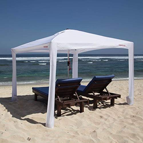 Cool Cabanas UPF50,Providing 50+UV Protection,8Pockets Easy go coolcabana Beach Canopy Sun shelter Tent Camping Umbrella with Sand Anchor Easy Setup pop up Tents Beach Sun Shade-White-Large Size