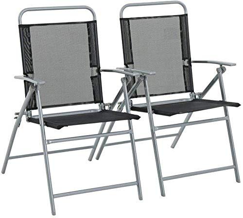 'N/A' Garden Folding Chairs Steel Frame Weatherproof set of (2)