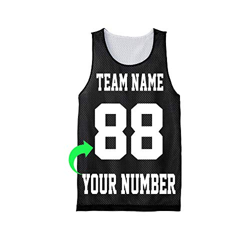 Personalize Your Own Basketball Jersey with Your Custom Name and Number (Black, Adult X-Small)