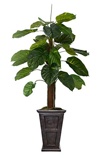 """Vintage Home 67"""" High Green Emer ald Artificial Faux Greenery Elephant Ears Plant with Black/Bronze Fibersone Planter for Home Decor"""