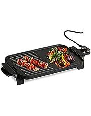 Relaxdays elektryczny grill stołowy, z regulatorem temperatury, grill elektryczny 1500 W, płyta kombi 38 x 26 cm, czarny
