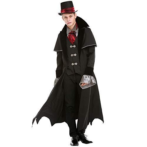 Victorian Vampire Halloween Costume for Men | Scary Classic Dracula Dress Up, M Black