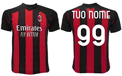 Maglia Milan 2021 Personalizzata Ufficiale 2020-2021 Adulto Ragazzo Bambino Tuo Nome e Numero (L Adulto)