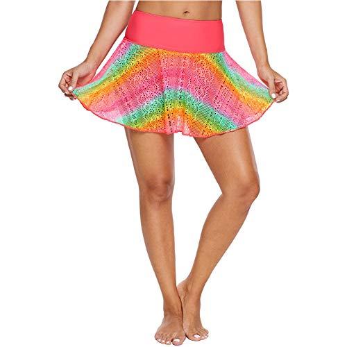 Moda Pantalones Mujer de natación de baño Falda Falda Acampanada Cintura Alta Bikini Beach Hakama Mujer (Color : LC410831-Colorful, Size : M)