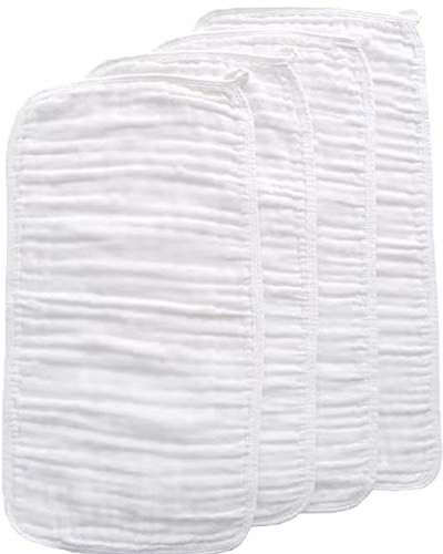 Muslin Baby Burp Cloths - Organic Cotton 4 Pack 8 Layers Burp Rags, Washcloths Towel Large Thicken Soft Absorbent Spit Up Rags Diapers for Unisex Newborns Baby Girl Boy Shower Registry Gift (White)