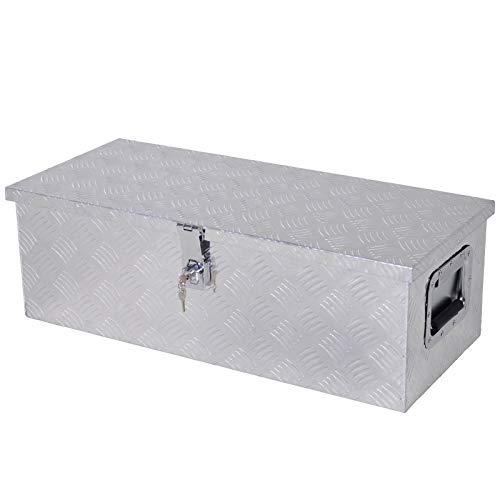 HOMCOM Gerätekasten Werkzeugkasten Werkzeugkoffer Sicher mit Schloss Tragbar Alu Silber 76 x 33 x 25 cm