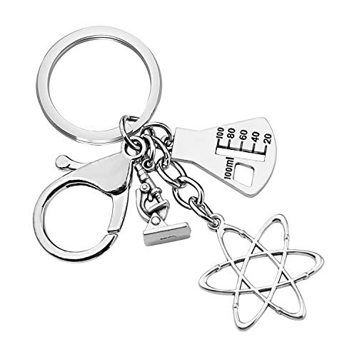 CHOORO Microscope and DNA Double Helix Necklace Science Gift for Laboratory Technologist/Science Student (3 Charm Bag Keychain)