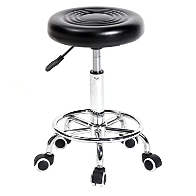 Black Rolling Stool with