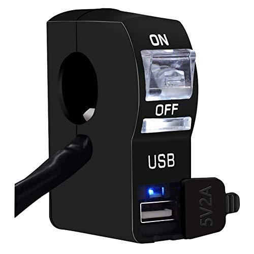 WYJBD 12V Motorradlenkerschalter ON-Off Wasserdicht, Scheinwerfer-Schalter USB-Handy-Ladegerät Buchse (Color : White, Size : Medium)