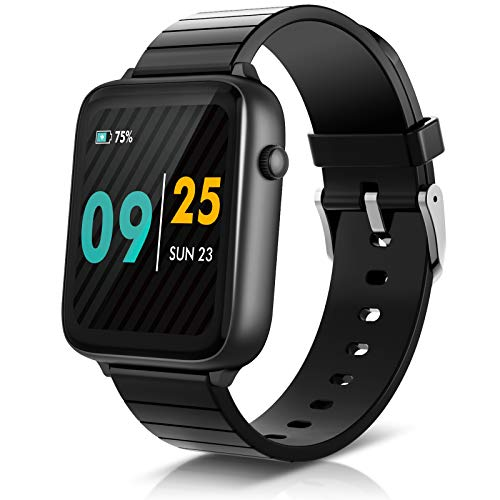 "ELEGIANT Smart Watch, 1.54"" Fitness Tracker with Real-time Heart Rate Monitor, IP68 Waterproof, Pedometer with Sleep Monitor, Exclusive 6 Dials+1Custom Dial Watch for Android Phones and iOS Phones"
