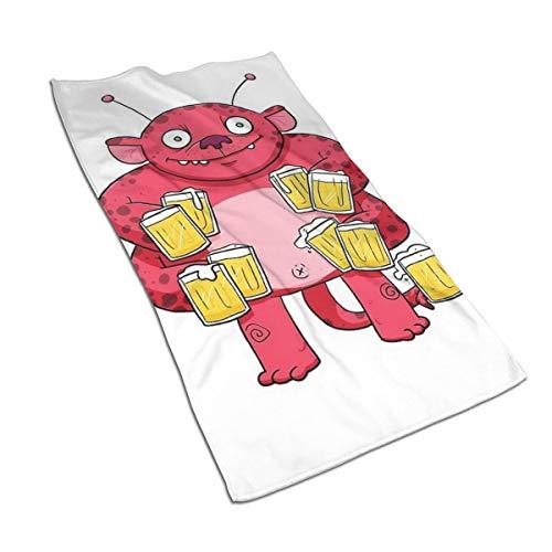 Genertic 27.5 * 15,7 inch Hand Handdoek Bier Roze Monster Zachte Super Absorberende Fluffy Handdoek Katoen Gepersonaliseerd Vierkant Gezicht Zacht Hotel Bad
