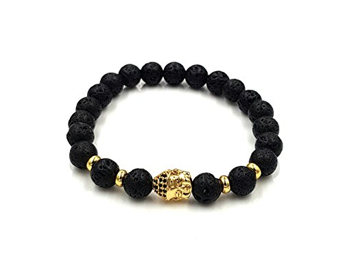 Exclusieve armband lavasteen, natuursteen, zwart, parels, hoogwaardige Boeddha-parelarmband, gouden kop, roestvrij staal, onyx antieke kralen, armband, Lawa, goud, zwart, karma, fashion vintage modesieraad