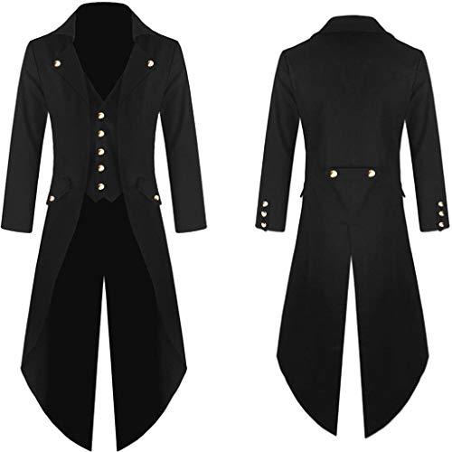 Sannysis Herren Frack Steampunk Gothic Vintage Viktorianischen Cosplay Jacke Langer Smoking Uniform Mantel warme Herrenjacke Knöpfe Kostüm Graben Bomberjacke Cape