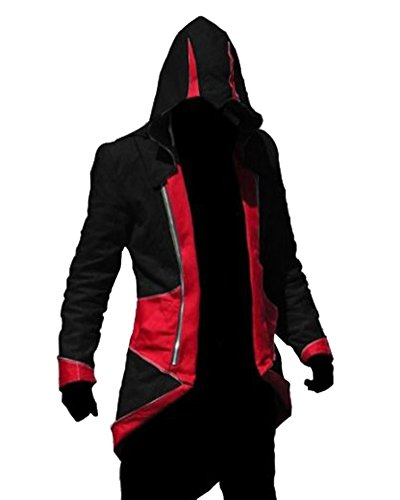 Rulercosplay Assassin's Creed 3 Connor Kenway Jacket Hoodie Cosplay (3 Colors) (L, Red&Black)