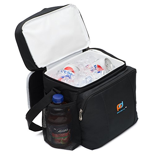 Cooler Lunch Bag With Removable Leakproof Plastic Hardliner Bucket. Dual compartment, 600D Strong Ployester, Thick Foam Insulation, Large Pockets And Zippers. Medium Size Lunch Bag for Everyday Use.