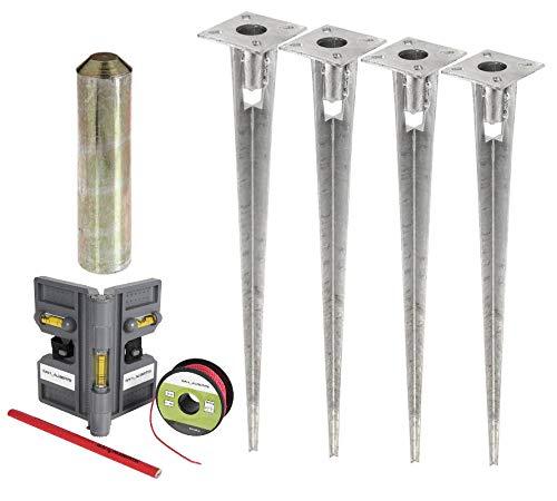 4x Einschlag Bodenhülse für Zaunpfosten-Durchmesser 38 mm inkl. Werkzeug im Set