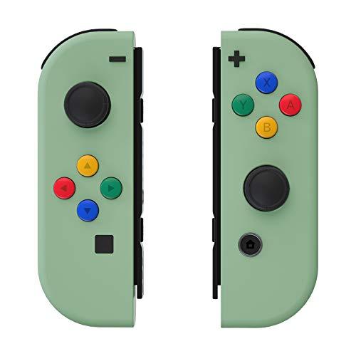 eXtremeRate Hülle für Nintendo Switch Joycon,Gehäuse Case Cover Schutzhülle Schale Tasche Set für Nintendo Switch Joy Con Controller mit A/B/X/Y-Taste RichtungsKnöpfe(Matcha Grün)-Keine Konsole Hülle