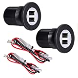 DAMAVO YM1094 Car Truck Boat 12V/24V Waterproof Dual 2 USB Ports Car Charger Power Socket Adapter Outlet Plug with Wire Fuse DIY Kit Blue LED and Cap for Golf Cart, Automotive Marine ATV Truck (2 PCS)