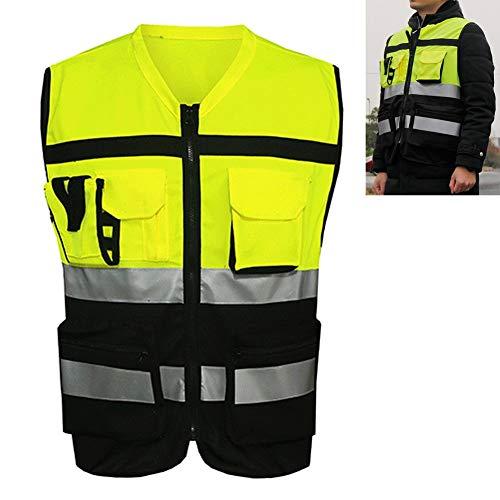 Alta Visibilidad Reflectante Chaleco de Seguridad con Multifuncional Bolsillos, Correr, Trote, a Pie, Construcción, Tráfico, Ciclismo, Motocicleta Equitación, y Más