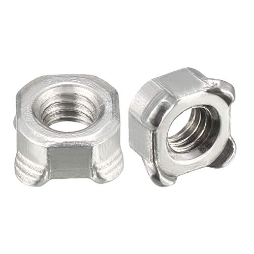 uxcell Weld Nuts,M6 Square UNC Coarse Carbon Steel Machine Screw Silver Pack of 40