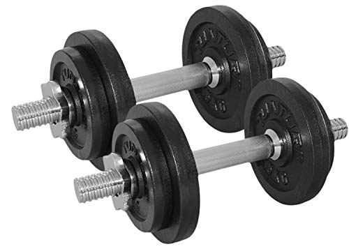 Tunturi Weight Set Mancuernas con 2 Barras Ajustables, Unisex Adulto, Negro, 20 kg