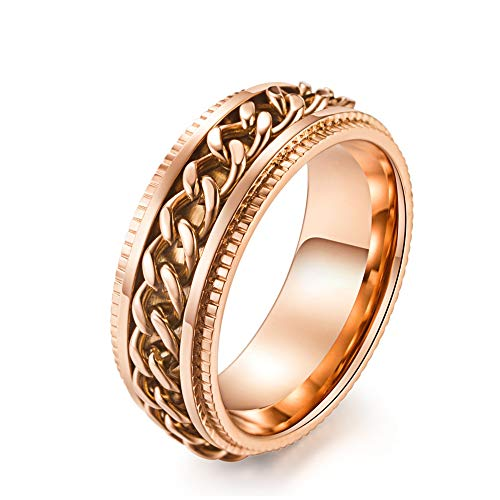 Eenvoudige wolfraam stalen ring mannen dames mode roteerbare ketting reliëf rose goud trend punk hiphop creatieve gift liefhebbers vintage 13