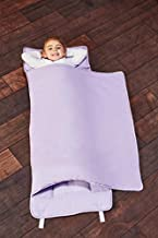 EVERYDAY KIDS Toddler Nap Mat with Removable Pillow - Lavender - Carry Handle with Straps Closure, Rollup Design, Soft Microfiber for Preschool, Daycare, Travel Sleeping Bag - Ages 3-6 Years