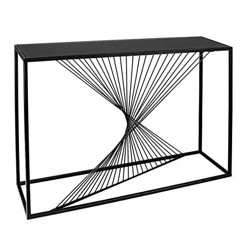 CASABLANCA Ray Buffet en Verre avec Plateau en Verre Noir Noir 107 cm