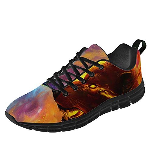 Uminder Mens Womens Wolf Ice and Fire Trail Running Shoes 3D Print Sneakers Best Gifts for Mon,Dad,Black,Women 7