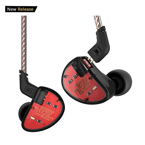 KZ AS10 Five-Driver Stereo High Fidelity in-Ear Musicians' Monitors with Removable Braided Audio Cable (Black Without Mic)