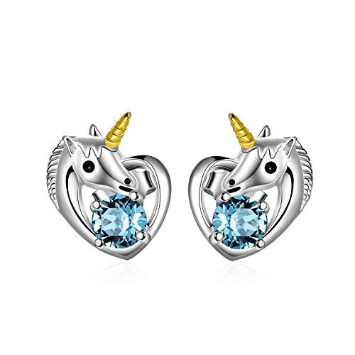 Einhorn Ohrringe 925 Sterling Silber Mädchen Ohrstecker Herz mit Swarovski-Kristallen, Einhorn Schmuck Geschenke für Mädchen Frauen (Blau)