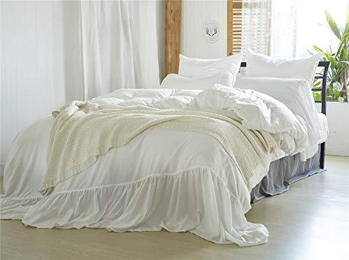 MOOWOO Shabby Chic Bedding, 3 Pieces Ruffle Duvet Cover Set 100%...