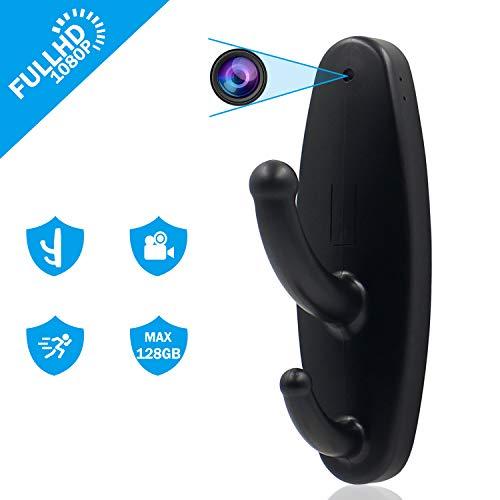 Mini-Spionage-Kamera-Kleiderhaken, 1080P HD, Kleiner Hut-Kleiderbügel, DVR-Kamera, verdeckte Heim-Sicherheits-Überwachungskamera, Nanny-Cam, Video-Recorder mit Bewegungserkennung, Schwarz