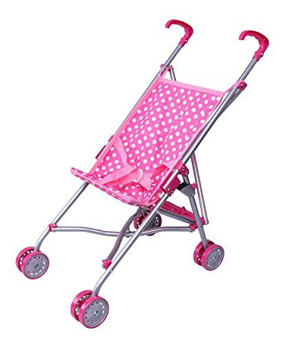 Precious Toys Pink and White Polka Dots Umbrella Doll Stroller with Hot Pink Handles and Silver Frame - 0128B by Precious toys