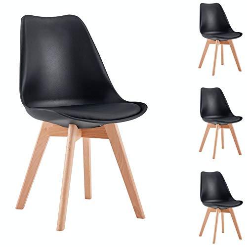 IDIMEX Esszimmerstuhl Abby, Stuhl Esszimmer Küchenstuhl Esstischstuhl Polsterstuhl, aus Kunststoff, Retro Design, im 4er Set, in schwarz