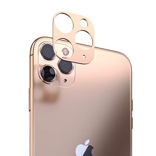 innoGadgets Kameraschutz kompatibel mit iPhone 11 Pro / 11 Pro Max | Passgenauer Kamera Schutz gegen Stöße und Kratzer | staubfrei installieren mit Reinigungs-Set | Aluminiumrahmen in Gold