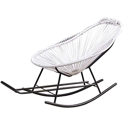 JNMDLAKO Vilstol vit rottingstol gungstol trädgårdsmöbler med fotpall och armstöd för barn vuxna barnkammare solstol vilstol vilstol fåtölj solstolar för uteplats pool