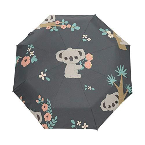 Small Travel Umbrella Windproof Outdoor Rain Sun UV Auto Compact 3 Folds Umbrellas Cover - Koala Lying On The Tree
