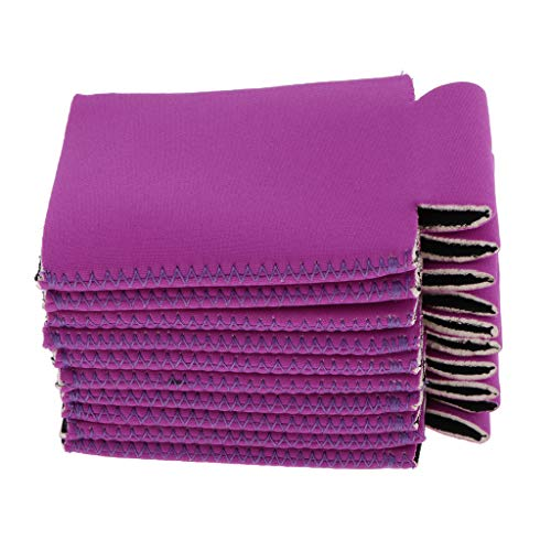 B Baosity 10pcs Stubby Beer Bottle Holder Can Cooler Insulated Cold Sleeve - purple