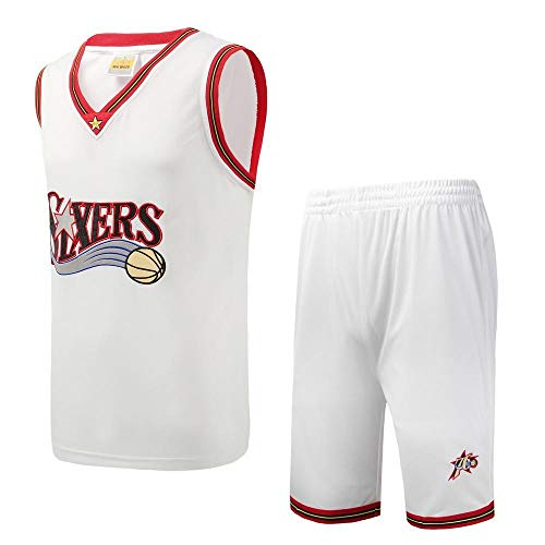 BCGG Camiseta Philadelphia 76ers para niños, Chaleco de Baloncesto Retro para niños, Bordado para niñas Fan Edition (con Pantalones Cortos) Blanco-XL