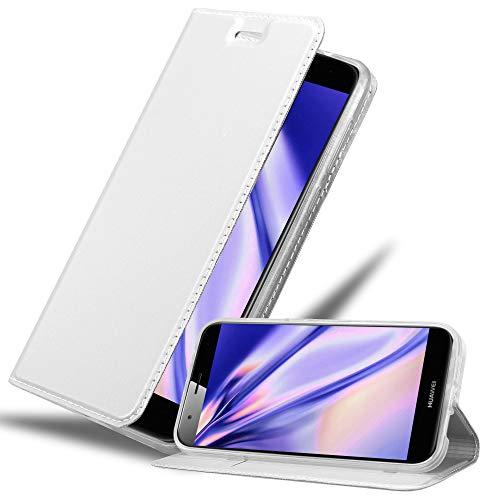 Cadorabo Hülle für Huawei G7 Plus / G8 / GX8 in Classy Silber - Handyhülle mit Magnetverschluss, Standfunktion & Kartenfach - Hülle Cover Schutzhülle Etui Tasche Book Klapp Style