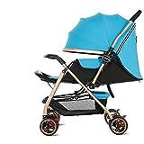 MAMINGBO Cochecito de bebé plegable de alta Ver carrito silleta, con la seguridad de cinco puntos de arnés, for el recién nacido y del niño (Color : Azul)
