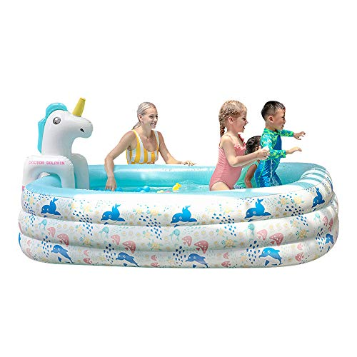 Doctor Dolphin Inflatable Pool for Kids, 94.5' X 65' X 24' Pool with Unicorn Spray, Lounge Blow up Pool for Kiddie Ball Pit