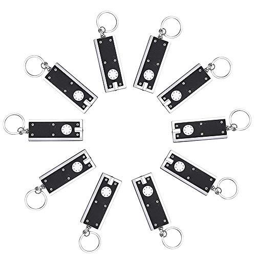 Schlüsselanhänger-Taschenlampe, Mini-Taschenlampe, LED, tragbar, dünn und 45 Lumen, 10 Stück