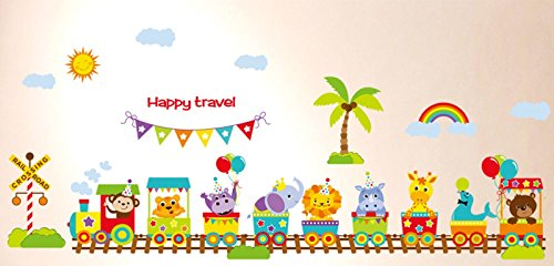 Funky Planet wall stickers Balloons Planes Cars Animals Wall Stickers Wall Decoration for Living Room Bedroom Children's Room (happy train, 90 x 60)