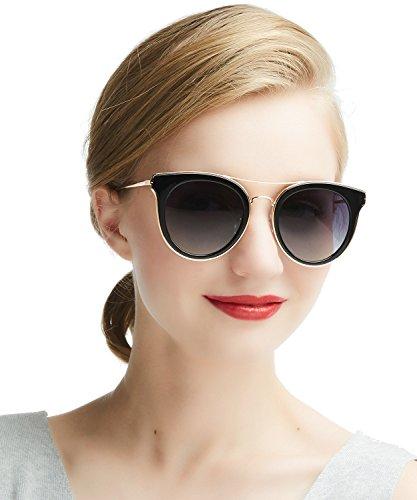 Sonnenbrille Damen Stylische Vintage Polarisierte - Dada-Pro Fahrer Brille 100% UV400 Schutz für Autofahren Reisen Golf Party und Freizeit (Black)